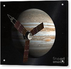 Artists Concept Of The Juno Spacecraft Acrylic Print by Stocktrek Images