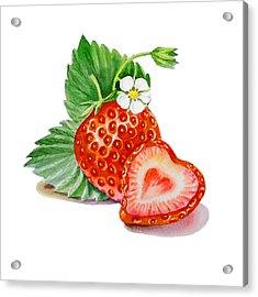 Artz Vitamins A Strawberry Heart Acrylic Print by Irina Sztukowski