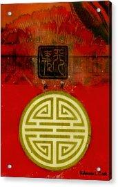 Asian Red Encaustic Acrylic Print by Bellesouth Studio