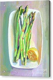 Asparagus Plate Acrylic Print by David Lloyd Glover