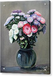 Aster Acrylic Print featuring the painting Asters by Paul Walsh