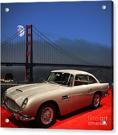 Aston Martin Db5 Under The Golden Gate Moon Acrylic Print by Wingsdomain Art and Photography