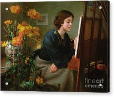 At The Easel  Acrylic Print by James N Lee