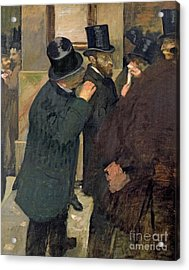 At The Stock Exchange Acrylic Print by Edgar Degas
