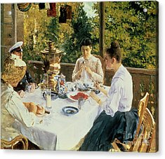 At The Tea-table Acrylic Print by Konstantin Alekseevich Korovin