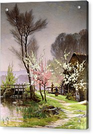At The Watermill   Spring Acrylic Print by Henri Saintain