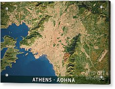 Athens City Topographic Map Natural Color Acrylic Print by Frank Ramspott