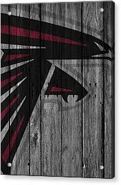 Atlanta Falcons Wood Fence Acrylic Print by Joe Hamilton