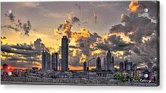 Atlanta Sunrise On Atlantic Station Commons And Midtown Atlanta Acrylic Print by Reid Callaway