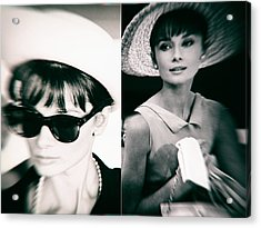 1950s Portraits Acrylic Print featuring the digital art Audrey Hepburn In Black And White by Georgia Fowler