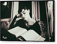 Audrey Hepburn Reading A Book Acrylic Print by Georgia Fowler