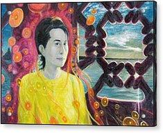 Aung San Suu Kyi Acrylic Print by A Coudry