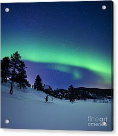 Aurora Borealis And A Shooting Star Acrylic Print by Arild Heitmann