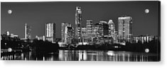 Austin Skyline At Night Black And White Bw Panorama Texas Acrylic Print by Jon Holiday