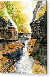 Autumn At Rainbow Falls  Acrylic Print by Melly Terpening