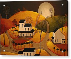 Autumn Evening Graze - A Folkartmama Original - Folk Art Acrylic Print by Debbie Criswell