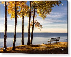 Autumn Morn On The Lake Acrylic Print by Mary Amerman