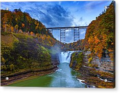 Autumn Morning At Upper Falls Acrylic Print by Rick Berk