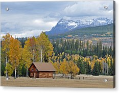 Autumn Mountain Cabin In Glacier Park Acrylic Print by Bruce Gourley