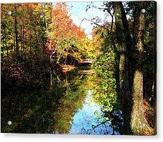 Autumn Park With Bridge Acrylic Print by Susan Savad
