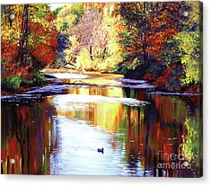 Autumn Reflections Acrylic Print by David Lloyd Glover
