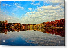 Autumn Trees Reflection Acrylic Print by This image is Copy