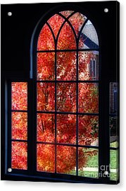Autumn View Thru A Picture Window Acrylic Print by Sue Melvin
