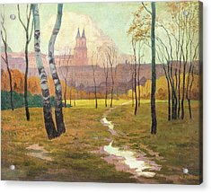 Autumnal Park In Front Of The Augustinian Canons Acrylic Print by MotionAge Designs
