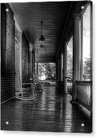 Avenel Front Porch - Bw Acrylic Print by Steve Hurt