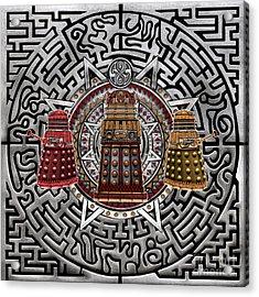 Aztec Dalek Acrylic Print by Three Second