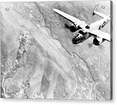 B-25 Bomber Over Germany Acrylic Print by War Is Hell Store