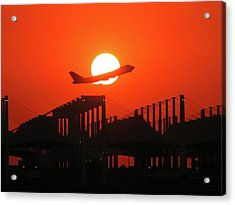 B747 Sunset Take-off Acrylic Print by Graham Taylor