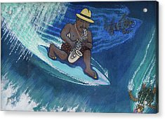 Baba Louie-surfing Sax Frisbee Player Acrylic Print by Dickens Fourtyfour