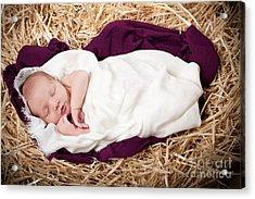 Baby Jesus Nativity Acrylic Print by Cindy Singleton