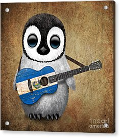 Baby Penguin Playing Salvadorian Flag Guitar Acrylic Print by Jeff Bartels