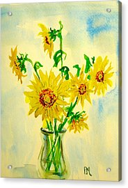 Baby Sunflowers Acrylic Print by Pete Maier