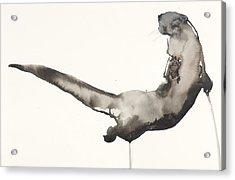 Back Awash   Otter Acrylic Print by Mark Adlington