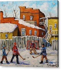 Back Lane Hockey Created By Prankearts Acrylic Print by Richard T Pranke