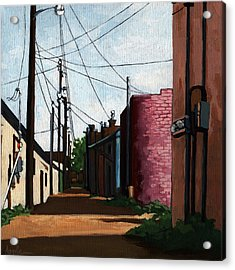 Back Street Alley City Painting Acrylic Print by Linda Apple