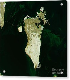 Bahrain Topographic Map Natural Color Top View Acrylic Print by Frank Ramspott