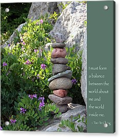 Balancing Stones With Tao Quote Acrylic Print by Heidi Hermes