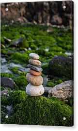 Balancing Zen Stones By The Sea II Acrylic Print by Marco Oliveira