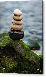 Balancing Zen Stones By The Sea IIi Acrylic Print by Marco Oliveira