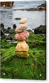 Balancing Zen Stones By The Sea Iv Acrylic Print by Marco Oliveira