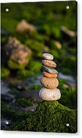 Balancing Zen Stones By The Sea Acrylic Print by Marco Oliveira