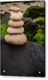 Balancing Zen Stones By The Sea V Acrylic Print by Marco Oliveira