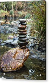 Balancing Zen Stones In Countryside River Vi Acrylic Print by Marco Oliveira