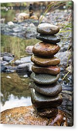 Balancing Zen Stones In Countryside River Vii Acrylic Print by Marco Oliveira