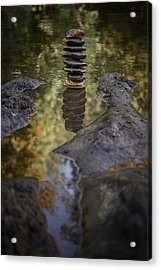 Balancing Zen Stones In Countryside River X Acrylic Print by Marco Oliveira