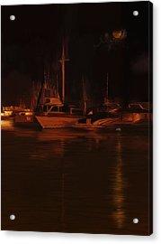 Balboa Island Newport Bay Night Acrylic Print by Angela A Stanton